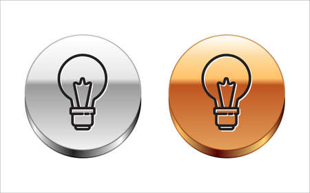 Black line Light bulb with concept of idea icon isolated on white background. Energy and idea symbol. Inspiration concept. Silver-gold circle button. Vector
