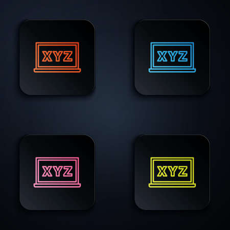 Color neon line XYZ Coordinate system on chalkboard icon isolated on black background. XYZ axis for graph statistics display. Set icons in square buttons. Vector Illustration