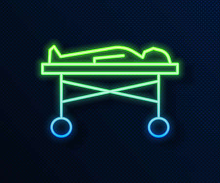 Glowing neon line Dead body in the morgue icon isolated on blue background. Vector Ilustração