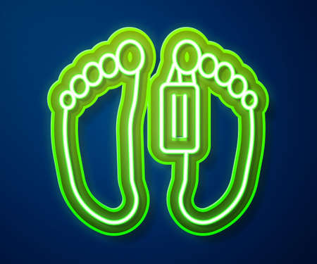 Glowing neon line Dead body with an identity tag attached in the feet in a morgue of a hospital icon isolated on blue background. Vector