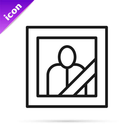 Black line Mourning photo frame with black ribbon icon isolated on white background. Funeral ceremony and condolence card layout. Vector