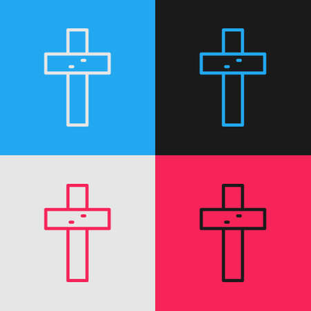 Pop art line Christian cross icon isolated on color background. Church cross. Vector 向量圖像
