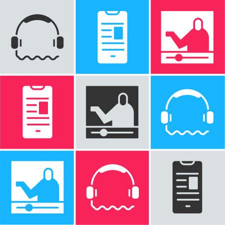 Set Headphones, Online book on mobile and Online education icon. Vector