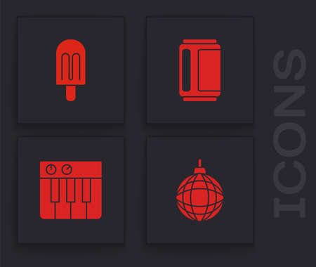 Set Disco ball, Ice cream, Beer can and Music synthesizer icon. Vector