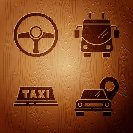 Set Map pointer with taxi, Steering wheel, Taxi car roof and Trolleybus on wooden background. Vector