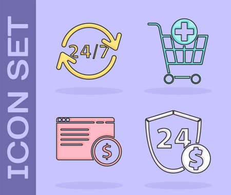 Set Shield with dollar, Clock 24 hours, Online shopping on screen and Add to Shopping cart icon. Vector