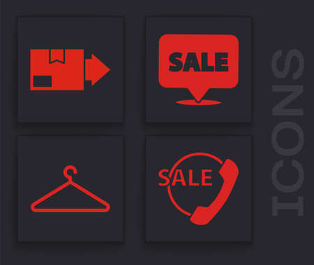 Set Telephone 24 hours support, Carton cardboard box, Hanging sign with Sale and Hanger wardrobe icon. Vector