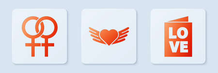 Set Heart with wings, Female gender symbol and Valentines day party flyer. White square button. Vector
