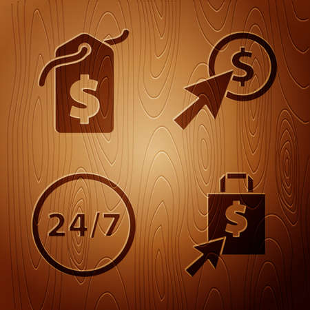 Set Shoping bag and dollar, Price tag with dollar, Clock 24 hours and Cursor and coin on wooden background. Vector
