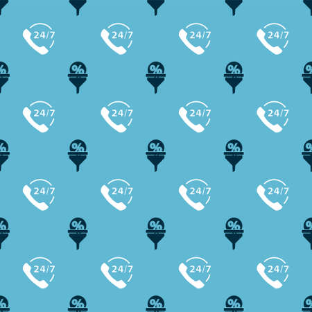 Set Lead management and Telephone 24 hours support on seamless pattern. Vector