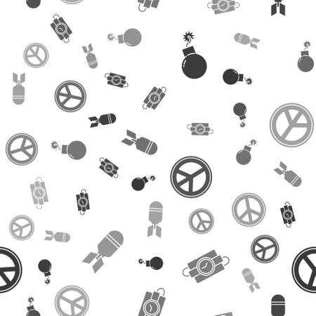 Set Bomb ready to explode, dynamite stick and timer clock, Peace and Aviation bomb on seamless pattern. Vector Vettoriali
