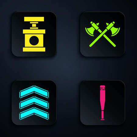 Set Baseball bat, Handle detonator for dynamite, Military rank and Crossed medieval axes. Black square button. Vector