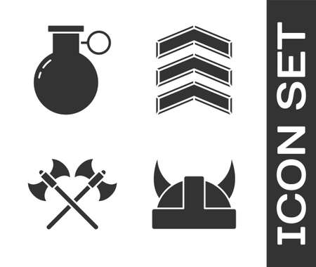 Set Viking in horned helmet, Hand grenade, Crossed medieval axes and Military rank icon. Vector