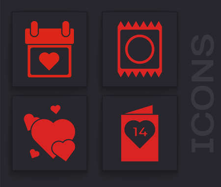 Set Valentines day flyer with heart, Calendar with heart, Condom in package and Heart icon. Vector