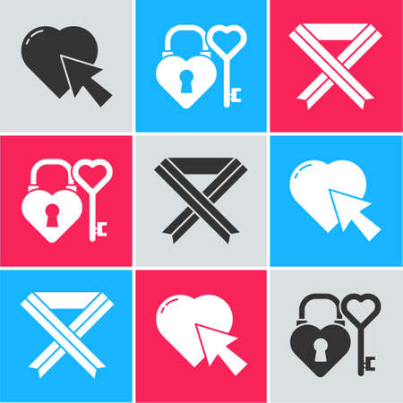 Set Heart and cursor click, Castle and key in heart shape and Breast cancer awareness ribbon icon. Vector