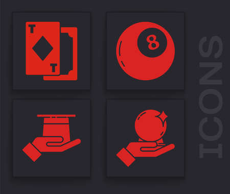 Set Magic ball on hand, Playing cards, Magic ball of predictions and Magician hat in hand icon. Vector