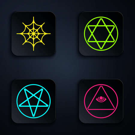 Set Masons, Spider web, Pentagram in a circle and Star of David. Black square button. Vector