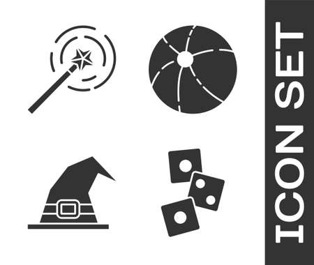 Set Game dice, Magic wand, Witch hat and Beach ball icon. Vector