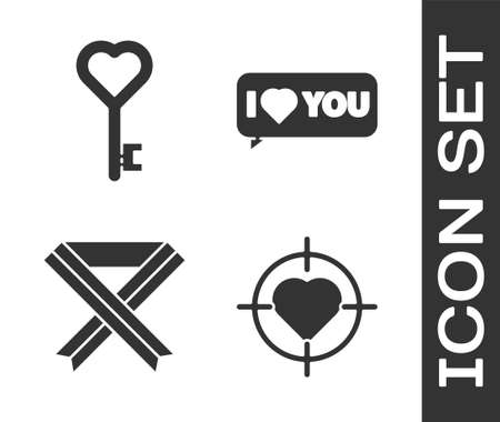 Set Heart in the center of target aim, Key in heart shape, Breast cancer awareness ribbon and Speech bubble with I love you icon. Vector