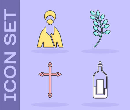 Set Bottle of wine, Jesus Christ, Christian cross and Willow leaf icon. Vector