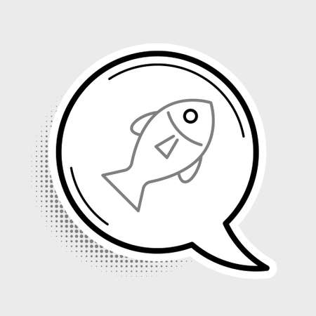 Line Fish icon isolated on grey background. Colorful outline concept. Vector