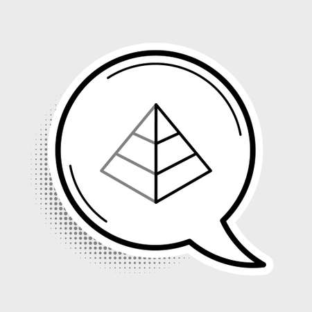 Line Egypt pyramids icon isolated on grey background. Symbol of ancient Egypt. Colorful outline concept. Vector