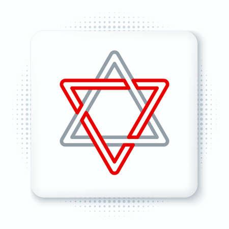 Line Star of David icon isolated on white background. Jewish religion symbol. Symbol of Israel. Colorful outline concept. Vector Illusztráció