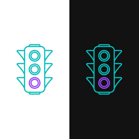 Line Traffic light icon isolated on white and black background. Colorful outline concept. Vector
