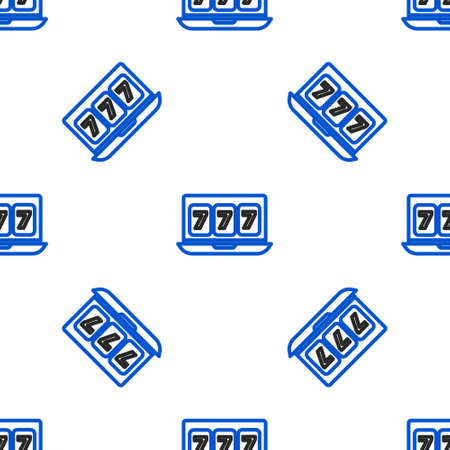 Line Online slot machine with lucky sevens jackpot icon isolated seamless pattern on white background. Online casino. Colorful outline concept. Vector
