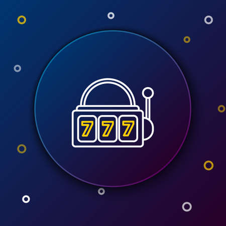 Line Slot machine with lucky sevens jackpot icon isolated on blue background. Colorful outline concept. Vector
