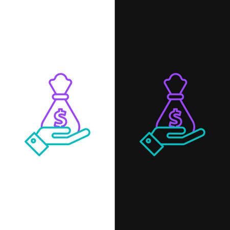 Line Hand holding money bag icon isolated on white and black background. Dollar or USD symbol. Cash Banking currency sign. Colorful outline concept. Vector
