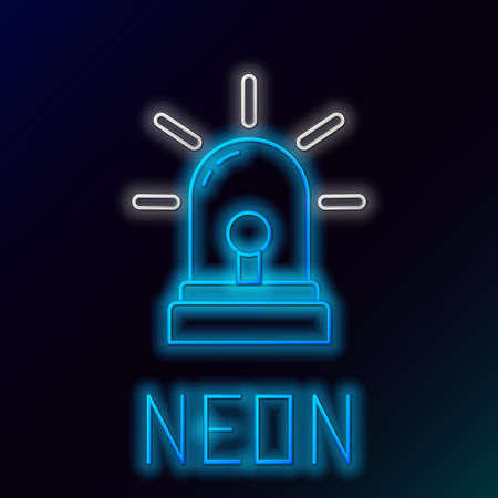 Glowing neon line Flasher siren icon isolated on black background. Emergency flashing siren. Colorful outline concept. Vector