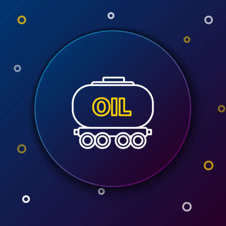 Line Oil railway cistern icon isolated on blue background. Train oil tank on railway car. Rail freight. Oil industry. Colorful outline concept. Vector Stock Illustratie