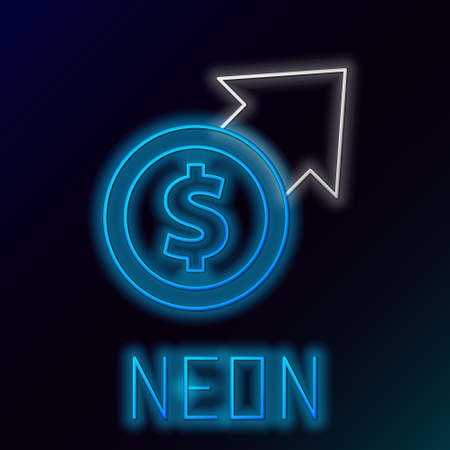 Glowing neon line Financial growth and coin icon isolated on black background. Increasing revenue. Colorful outline concept. Vector