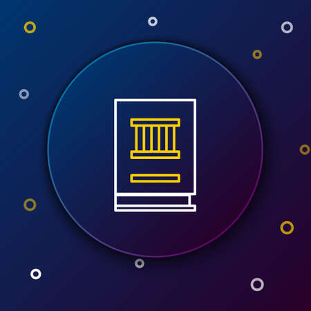 Line Law book icon isolated on blue background. Legal judge book. Judgment concept. Colorful outline concept. Vector