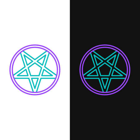 Line Pentagram in a circle icon isolated on white and black background. Magic occult star symbol. Colorful outline concept. Vector  イラスト・ベクター素材