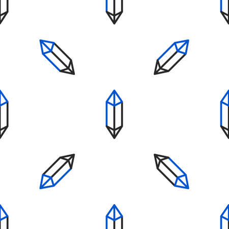 Line Magic stone icon isolated seamless pattern on white background. Fantasy crystal. Jewelry gem for game. Colorful outline concept. Vector
