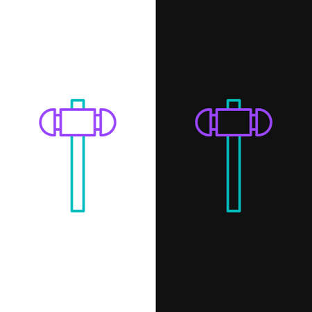 Line Sledgehammer icon isolated on white and black background. Colorful outline concept. Vector Stock Illustratie