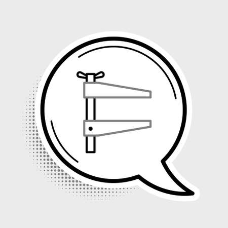 Line Clamp tool icon isolated on grey background. Locksmith tool. Colorful outline concept. Vector