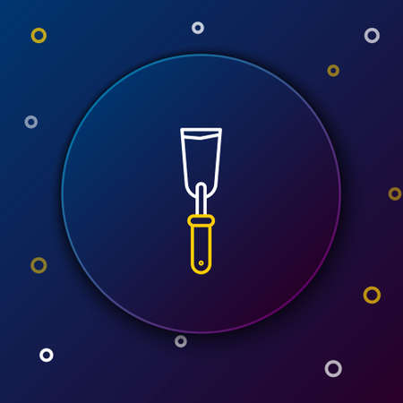Line Putty knife icon isolated on blue background. Spatula repair tool. Spackling or paint instruments. Colorful outline concept. Vector Иллюстрация