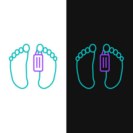 Line Dead body with an identity tag attached in the feet in a morgue of a hospital icon isolated on white and black background. Colorful outline concept. Vector