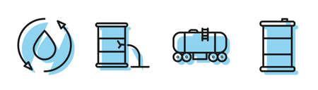 Set line Oil railway cistern, Oil drop, Barrel oil leak and Barrel oil icon. Vector 일러스트
