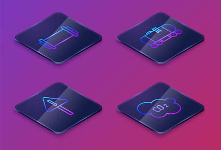 Set Isometric line Industry pipe, Exclamation mark in triangle, Oil railway cistern and CO2 emissions in cloud. Blue square button. Vector 일러스트
