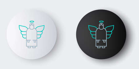 Line Christmas angel icon isolated on grey background. Colorful outline concept. Vector