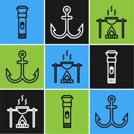 Set line Flashlight, Campfire and pot and Anchor icon. Vector