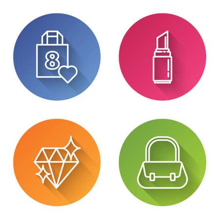 Set line Shopping bag with heart, Lipstick, Diamond and Handbag. Color circle button. Vector