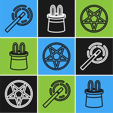 Set line Magic wand, Pentagram in a circle and Magician hat and rabbit ears icon. Vector  イラスト・ベクター素材