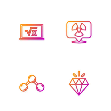 Set line Diamond, Molecule, Square root of x glyph and Radioactive in location. Gradient color icons. Vector Ilustrace