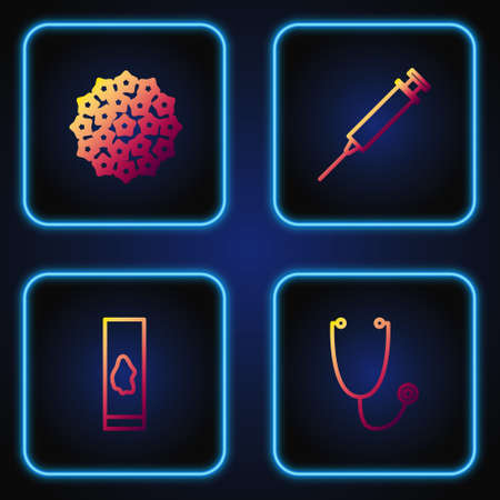 Set line Stethoscope, Blood test and virus, Virus and Syringe. Gradient color icons. Vector