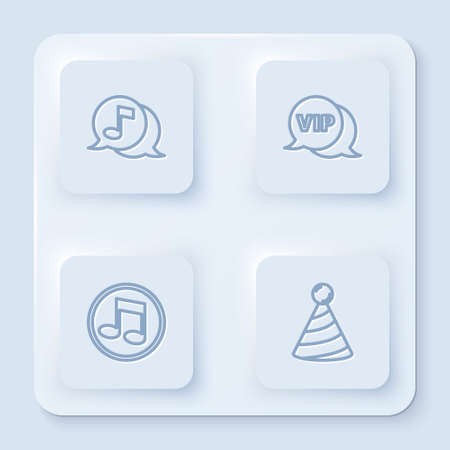 Set line Musical note in speech bubble, Vip, note, tone and Party hat. White square button. Vector